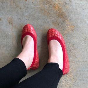 Yosi Samra Red Leather Snakeprint Ballet Flats